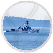 U.s. Navy Ship Round Beach Towel