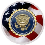 Presidential Service Badge - P S B Over American Flag Round Beach Towel