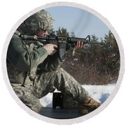 U.s. Soldier Fires His M4a3 Carbine Round Beach Towel