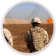 U.s. Soldiers Detonate A Test Explosion Round Beach Towel