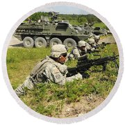 U.s. Soldiers Move Into Firing Round Beach Towel