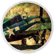 Us Ww II Grumman F4f Wildcat Fighter Plane Round Beach Towel