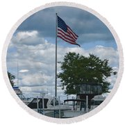 Usa Flag 10 Round Beach Towel
