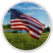 Usa Flag Round Beach Towel by Phyllis Bradd