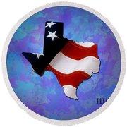Usa Flagtexas State Digital Artwork Round Beach Towel