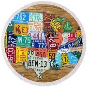 Usa License Plate Map Car Number Tag Art On Light Brown Stained Board Round Beach Towel by Design Turnpike