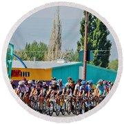 Usa Pro Challenge Bike Race Montrose Colorado Round Beach Towel