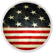 Usa Stars And Stripes Round Beach Towel by Les Cunliffe