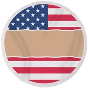 Usa Wrapping Paper Torn Through The Centre Round Beach Towel