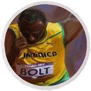 Usain Bolt 2012 Olympics Round Beach Towel by Vannetta Ferguson
