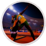 Usain Bolt Number One Round Beach Towel