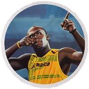 Usain Bolt Painting Round Beach Towel