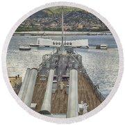 Uss Arizona Memorial-pearl Harbor V4 Round Beach Towel