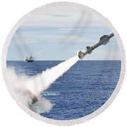 Uss Cowpens Launches A Harpoon Missile Round Beach Towel