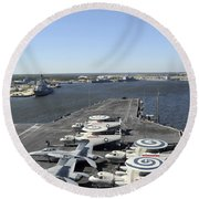 Uss Enterprise Arrives At Naval Station Round Beach Towel
