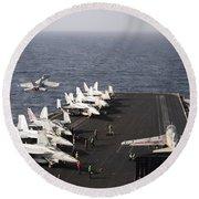 Uss Enterprise Conducts Flight Round Beach Towel