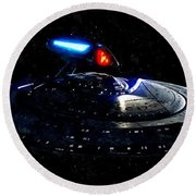 Uss Enterprise Round Beach Towel