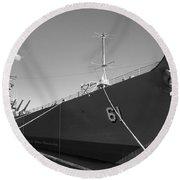 Uss Iowa Battleship Starboard Side Bw Round Beach Towel