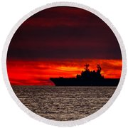 Uss Makin Island At Sunset Round Beach Towel