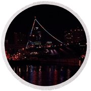 Uss Midway At Night Round Beach Towel