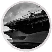 Uss Midway Helicopter Round Beach Towel
