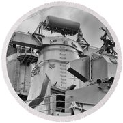 Uss Missouri- Radar System Round Beach Towel