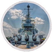 Uss North Carolina Round Beach Towel