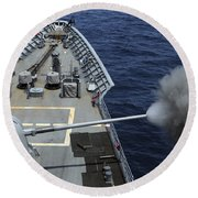 Uss Philippine Sea Fires Its Mk 45 Round Beach Towel by Stocktrek Images