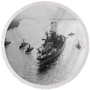 Uss Wyoming, C1912 Round Beach Towel
