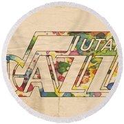 Utah Jazz Retro Poster Round Beach Towel