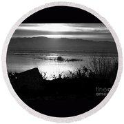 Utah Lake Dusk 03 - Bw Round Beach Towel