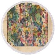 Utah Map Vintage Watercolor Round Beach Towel