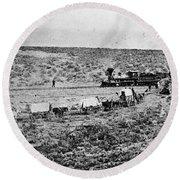 Utah Railroad, 1869 Round Beach Towel