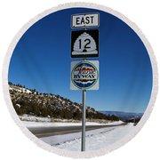 Utah Scenic Highway 12 In Snow Round Beach Towel