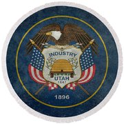 Utah State Flag Vintage Version Round Beach Towel