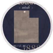 Utah State University Aggies Logan College Town State Map Poster Series No 117 Round Beach Towel