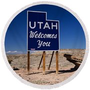 Utah Welcomes You State Sign Round Beach Towel