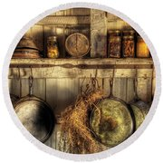 Utensils - Old Country Kitchen Round Beach Towel by Mike Savad