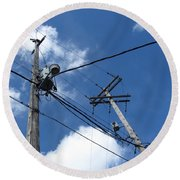 Utility Poles And Clouds 2 Round Beach Towel