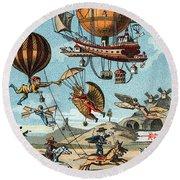 Utopian Flying Machines 19th Century Round Beach Towel