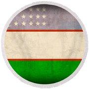 Uzbekistan Flag Vintage Distressed Finish Round Beach Towel