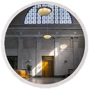 Vacant Railroad Station Round Beach Towel
