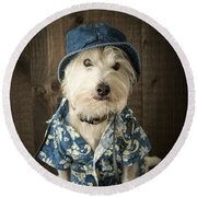 Vacation Dog Round Beach Towel
