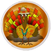 Vacation Turkey Illustration Round Beach Towel