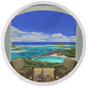 Vacation View Round Beach Towel