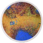 Vacationing On A Painting Round Beach Towel