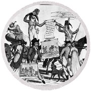 Vaccination Cartoon, C1800 Round Beach Towel
