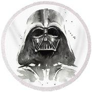 Darth Vader Watercolor Round Beach Towel by Olga Shvartsur