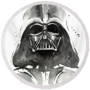 Darth Vader Watercolor Round Beach Towel
