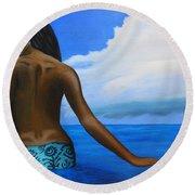 Vahine De Tahiti Round Beach Towel